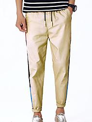 Недорогие -штаны среднего роста среднего размера с микро-эластичными брюками из микроволокна, простая полосатая полиэфирная пружина