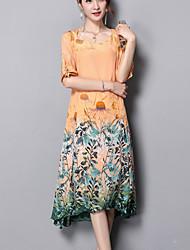 Недорогие -Жен. Большие размеры На выход Богемный Свободный силуэт Свободный силуэт Платье - Цветочный принт, С принтом Средней длины
