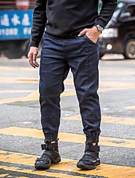Недорогие -мужской нормальный средний рост микро-эластичный брюки гарем, простой твердый хлопок льняной бамбук волокна весной