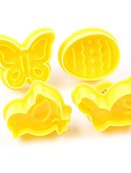 Недорогие -4шт бабочка кролик цыпленок пасхальное яйцо форму животное пластик fondant печенье резак торт плесень