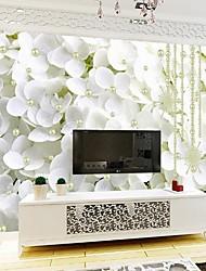 baratos -Floral Art Deco 3D Decoração para casa Clássico Modern Revestimento de paredes, Tela de pintura Material adesivo necessário Mural,