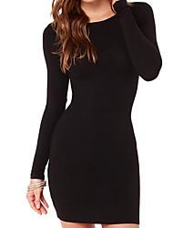 Недорогие -Жен. Классический Обтягивающие Облегающий силуэт Платье - Однотонный Завышенная Выше колена Черный / Сексуальные платья