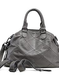 baratos -Mulheres Bolsas Couro de Gado Tote Ziper para Casual Todas as Estações Preto Cinzento Claro Bronze