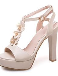 Недорогие -Жен. Обувь Полиуретан Весна Лето Оригинальная обувь Удобная обувь Сандалии На толстом каблуке Открытый мыс Заклепки Пряжки для Офис и