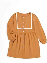 abordables -Robe Fille de Quotidien Couleur Pleine Polyester Eté Manches Longues simple Orange
