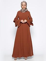 cheap -Women's Holiday Chiffon Abaya Dress - Solid Colored Basic Maxi