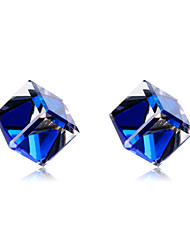 cheap -Women's Crystal Crystal / Silver Plated Stud Earrings - Classic / Elegant Dark Blue Geometric Earrings For Party / Evening / Daily