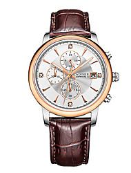 Недорогие -CADISEN Муж. Модные часы / Нарядные часы Японский Календарь / Секундомер / Защита от влаги Натуральная кожа Группа Мода / Элегантный стиль Черный / Коричневый / Нержавеющая сталь