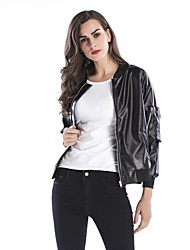 cheap -women's daily holiday simple spring regular leather jacket, solid round neck faux leather