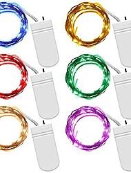 Недорогие -6x1M Гирлянды 10 светодиоды Тёплый белый / Синий / Поменять Водонепроницаемый / Декоративная / Новогодняя тематика Аккумуляторы 6шт / IP65