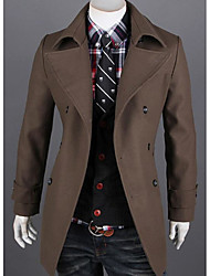 cheap -Men's Casual Long Trench Coat - Solid Colored, Print Shirt Collar