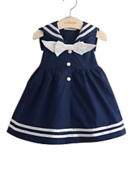 cheap -Girl's Daily Holiday Solid Dress, Cotton Spring Summer 3/4 Length Sleeves Simple Cute White Navy Blue