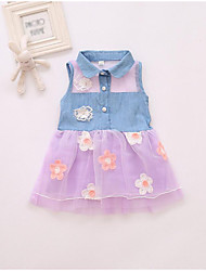 cheap -Girl's Daily Going out Solid Floral Patchwork Dress, Polyester Summer Sleeveless Cute Active White Black Blushing Pink Purple Fuchsia