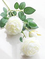baratos -2 Ramo Poliéster Plástico Peônias Flor de Mesa Flores artificiais Decoração para casa Bouquets de Noiva