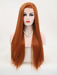 Недорогие -Синтетические кружевные передние парики Жен. Прямой Искусственные волосы Природные волосы Парик Длинные Лента спереди Оранжевый