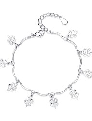 cheap -Women's Charm Bracelet - Fashion Sweet Four Leaf Clover Silver Bracelet For Gift Daily