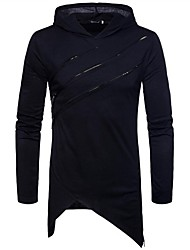 cheap -Men's Long Sleeve Slim Hoodie - Color Block Hooded / Please choose one size larger according to your normal size.