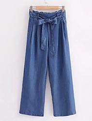 abordables -Femme Basique Jeans Pantalon Couleur Pleine