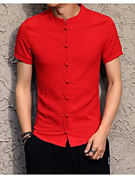 cheap -Men's Chinoiserie Linen Shirt - Solid Colored, Basic