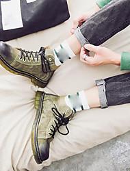abordables -Homme Chaussures Croûte de Cuir Hiver boîtes de Combat Bottes Gris / Jaune Clair / Vert Véronèse