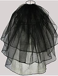 economico -3 strati Moderno Nuziale Da principessa Stile semplice Matrimonio Veli da sposa Velo corto (ai gomiti) Con Frangia A fantasia Tulle