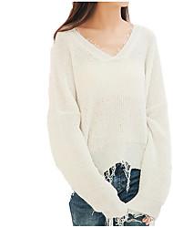 Недорогие -Жен. Длинный рукав Пуловер - Однотонный V-образный вырез