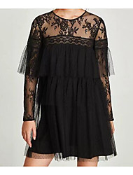 cheap -Women's Flare Sleeve Cotton Loose Dress - Solid Colored Lace
