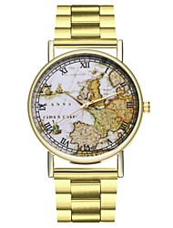 cheap -Men's Chronograph Large Dial Stainless Steel Band Analog World Map Travel Map Gold - Gold One Year Battery Life / SSUO LR626