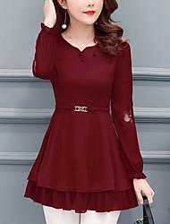 preiswerte -Damen Street Schick Bluse - Solide, Bestickt Rundhalsausschnitt
