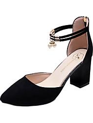 baratos -Mulheres Sapatos Couro Ecológico Outono Botas da Moda Botas Ponta Redonda Botas Cano Médio Elástico para Preto