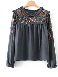 cheap -Women's Holiday Basic Blouse - Floral, Embroidered