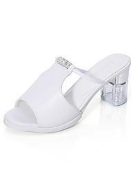 cheap -Women's Shoes PU Summer Heels Chunky Heel Peep Toe Rivet for Outdoor White Black