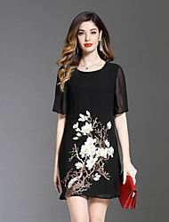 cheap -8CFAMILY Women's Cute A Line Loose Dress - Floral Embroidered