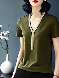economico -T-shirt Per donna Semplice Tinta unita A V
