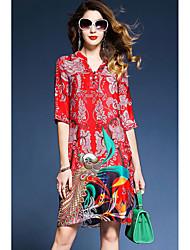 cheap -Women's Basic Chinoiserie A Line Loose Dress - Geometric V Neck