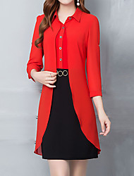 cheap -Women's Holiday Sophisticated Slim Sheath Dress - Color Block Basic Shirt Collar