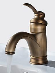Недорогие -Античный По центру Широко распространенный Керамический клапан Одно отверстие Одной ручкой одно отверстие Античная медь, Ванная раковина