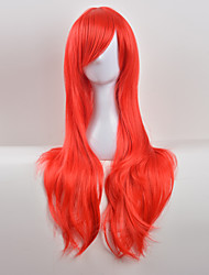 cheap -Synthetic Wig Curly Asymmetrical Haircut / With Bangs Synthetic Hair Natural Hairline Red Wig Women's Long Capless