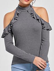 preiswerte -Damen Solide T-shirt,Rollkragen Schlank