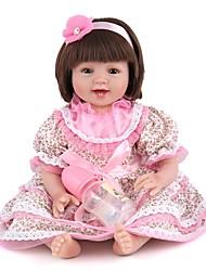 Недорогие -NPK DOLL Куклы реборн Девочки 22 дюймовый Силикон / Винил - как живой, Ручные прикладные ресницы, Гофрированные и запечатанные ногти