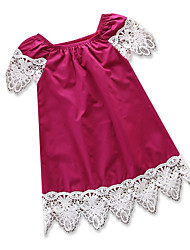 abordables -Robe Fille de Quotidien Sortie Couleur Pleine Mosaïque Coton Polyester Eté Sans Manches simple Décontracté Vin