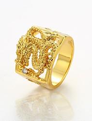 preiswerte -Herrn Statement-Ring Gold Kupfer vergoldet Drache Cool Rock Klub Strasse Modeschmuck
