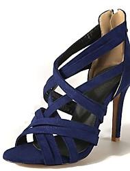abordables -Femme Chaussures Velours Eté Nouveauté / Gladiateur Sandales Talon Aiguille Bout ouvert Noir / Rouge / Bleu / Soirée & Evénement