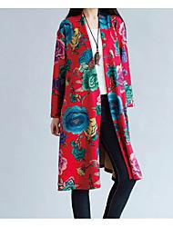 Dame Ensfarvet Blomster/botanik Afslappet Trenchcoat