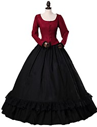 cheap -Rococo / Victorian Costume Women's Outfits Red+Black Vintage Cosplay 50% Cotton / 50% Polyester / Woolen Long Sleeve Puff / Balloon Sleeve Halloween Costumes