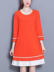 cheap -Women's Plus Size Slim Little Black Dress - Color Block, Pleated
