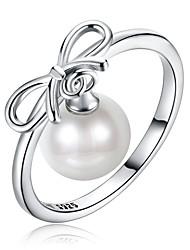 abordables -Femme Anneau de bande - Argent sterling, Imitation de perle, Zircon Classique 8 / 9 Argent Pour Quotidien Travail