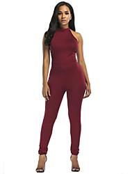 cheap -Women's Plus Size Club Going out Cotton Bodysuit - Solid Color, Cut Out Halter
