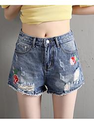 baratos -Mulheres Activo Cintura Alta Algodão Shorts Jeans Calças - Sólido Buraco Bordado