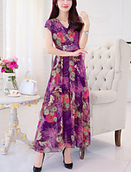 cheap -Women's Plus Size Going out Street chic Slim Chiffon Dress - Floral Print Maxi V Neck